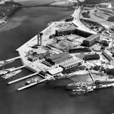 View of the U.S. Navy submarine base at Pearl Harbor in the early 1930