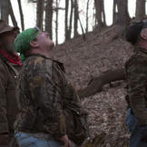 Trapper (left), Buck (center) and Wild Bill watch as Willy climbs a tr