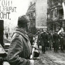 Delegation of German officers walking for negotiations before capitula
