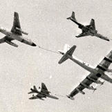 Something for everyone! Travelling at 415 mph, this modified B-29 refuels an F-101A Voodoo, a B-66 Destroyer, and a F-100D Super Sabre somewhere over England in the early 1960s.