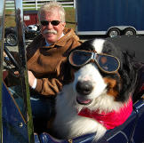 Wayne with dog in Bentely as seen on Chasing Classic Cars.