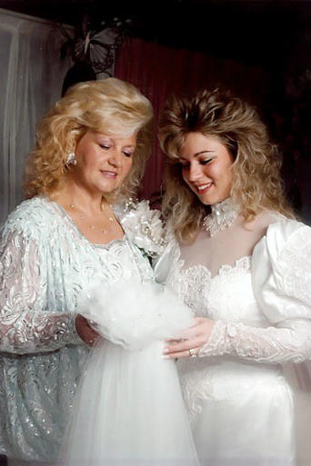 Theresa on her wedding day with her mother.