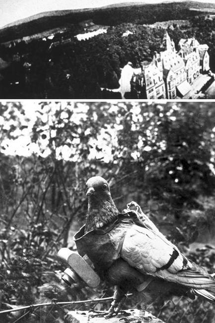 Carrier pigeons had long been used before this one was equipped in the early 1900s with a camera to offer a literal bird's-eye view of the terrain below.