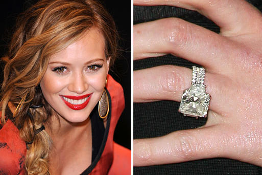 Genial Actress Hilary Duff Received This 14 Carat Radiant Cut Diamond From Hockey  Player Mike