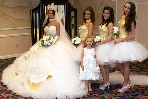 Nettie And Her Bridesmaids Sparkle In Gold Crystals
