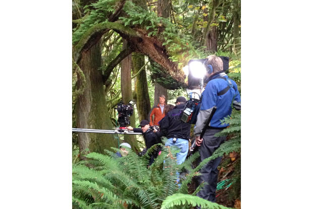 a look at pete nelson filming some promotional shots for treehouse masters
