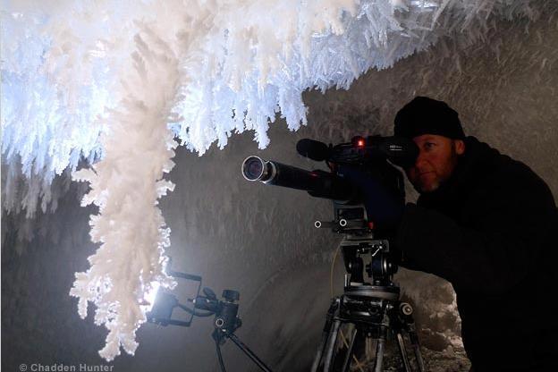 Filming in an ice cave beneath Antarctica's Mount Erebus.