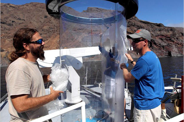 """This contraption is called a """"shark tube."""" Made of polycarbonate plastic, the shark tube is only a quarter of an inch thick, but strong enough to resist a great white — at least, shark expert Chris Fallows (right) hopes it is."""