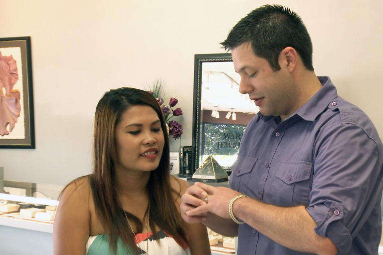 Brett and Daya explore their options at a jewelry store. Even though her ring's inspection turned out OK, both Daya and Brett felt that getting a new ring would help them start over on the right foot.