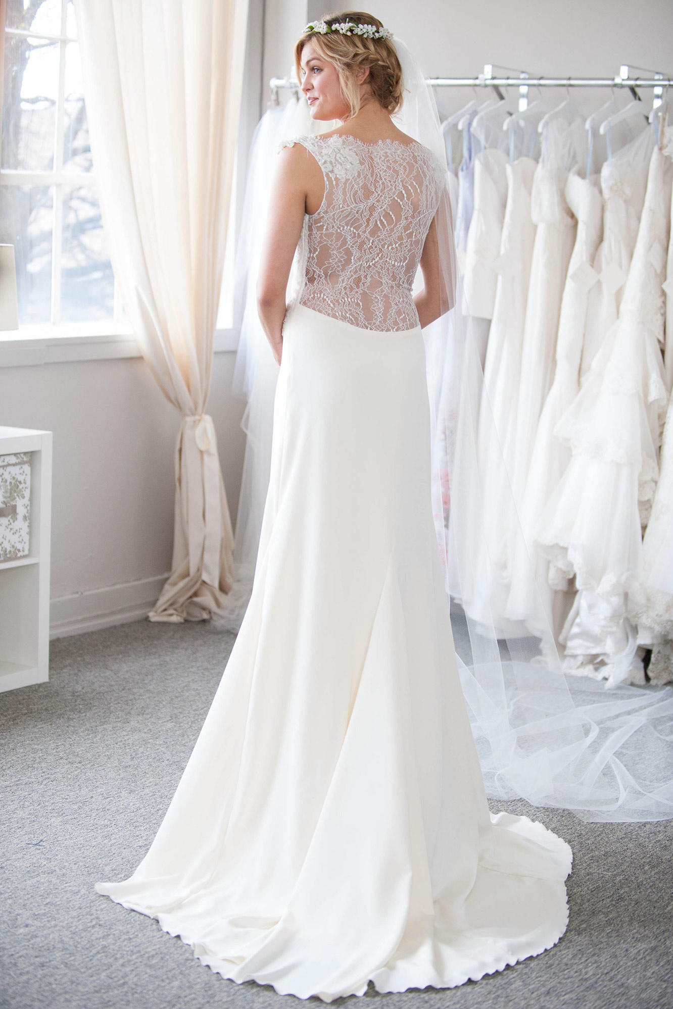 heidi s custom lace wedding dress for a country chic bride